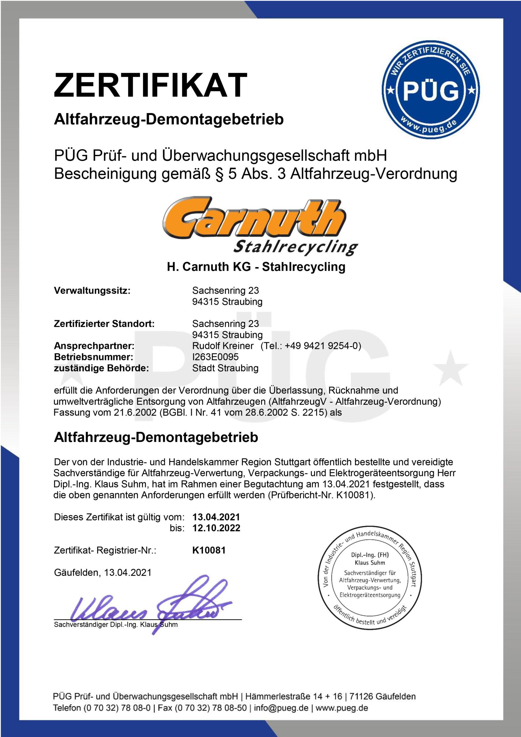 Zertifikat Altfahrzeug-Demontagebetrieb 2019