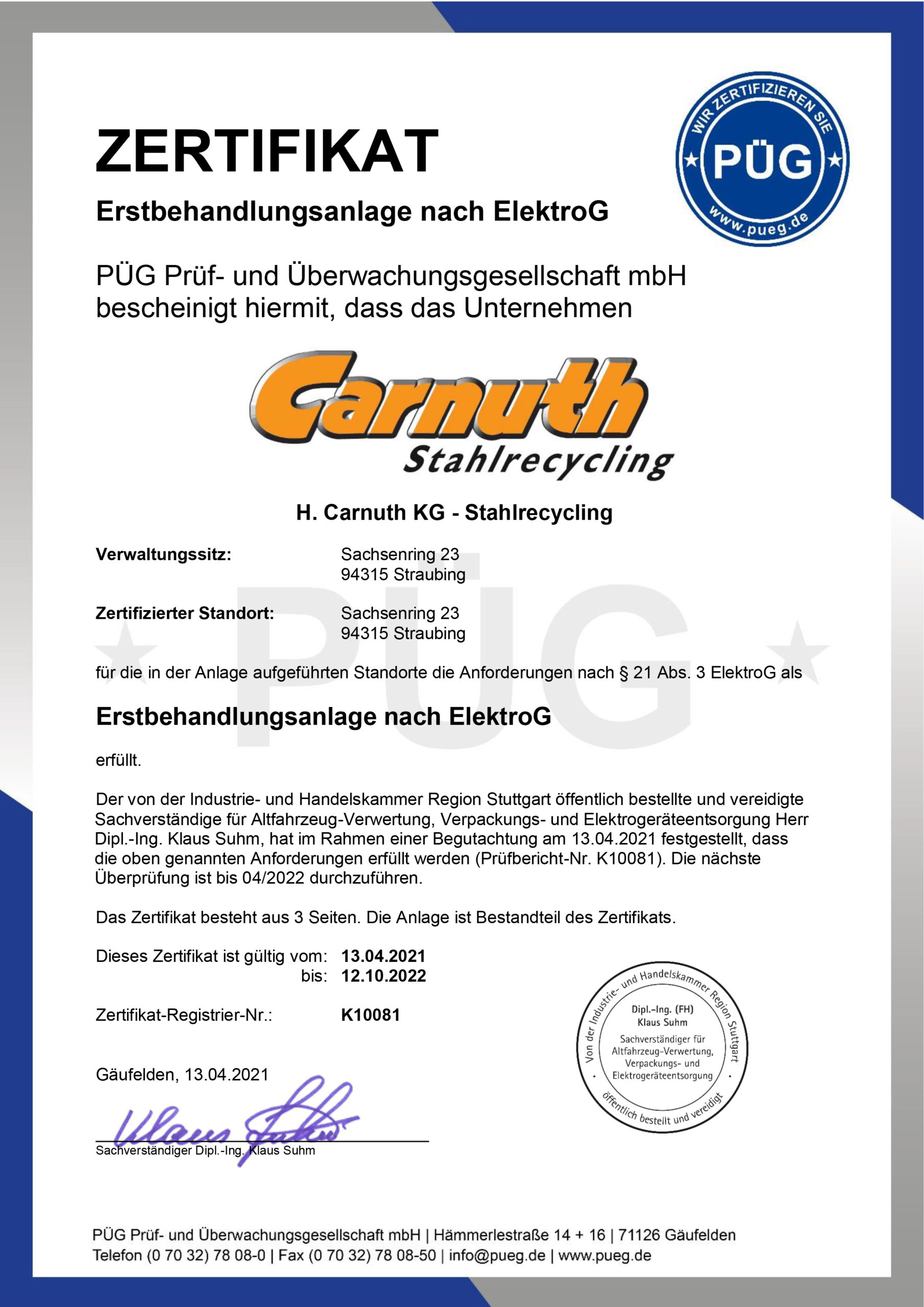 Zertifikat ElektroG Straubing 2019