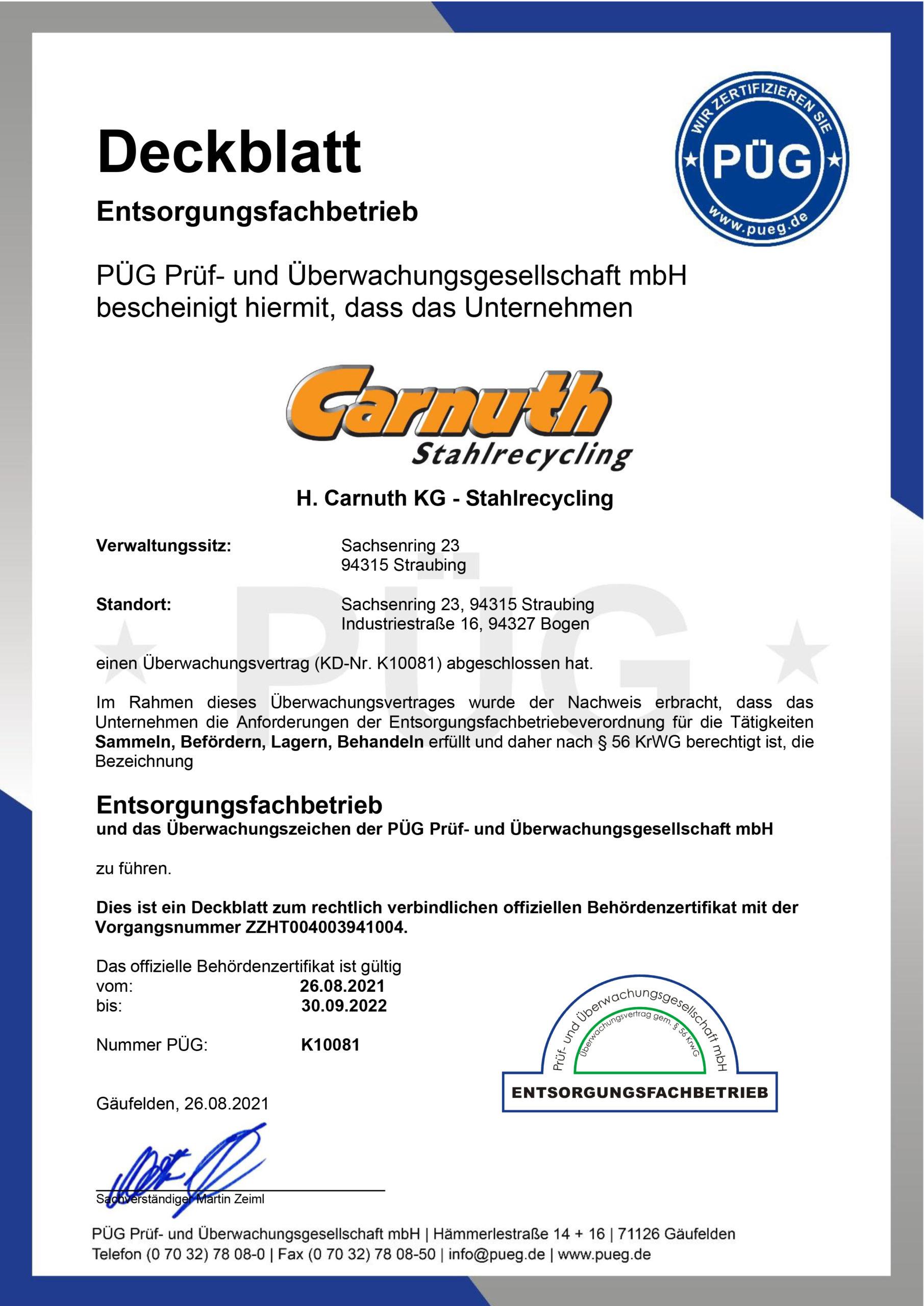 Zertifikat Entsorgungsfachbetrieb Straubing Bogen 2019